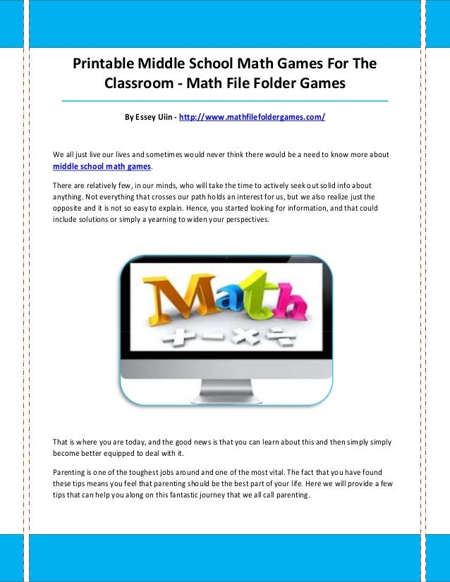 graphic regarding Middle School Math Games Printable titled Centre college math video games