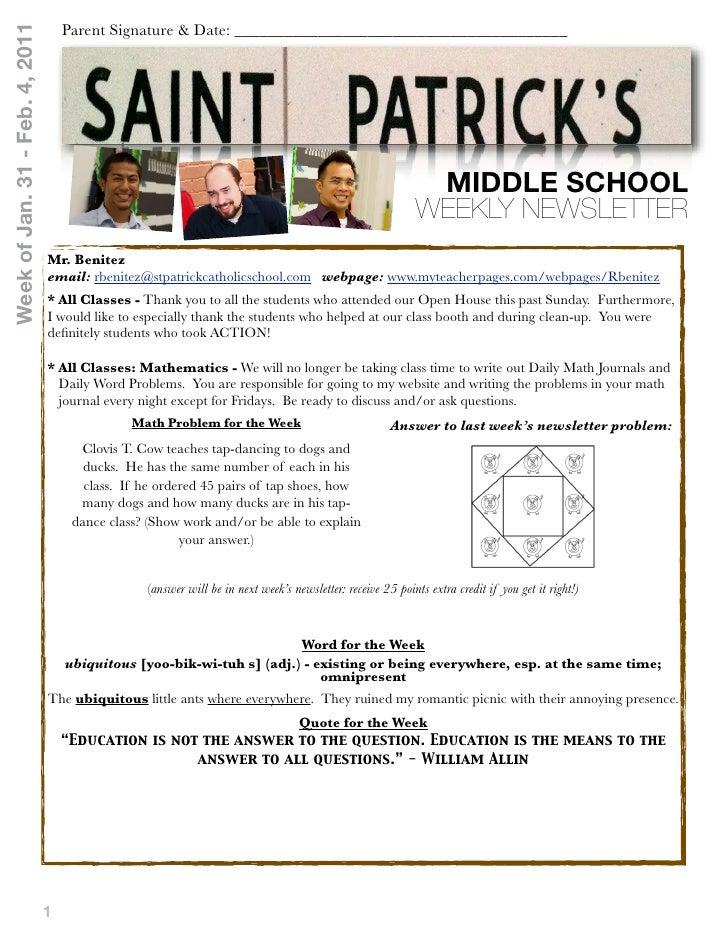 Middle school Newsletter Jan 24 thru Feb 4