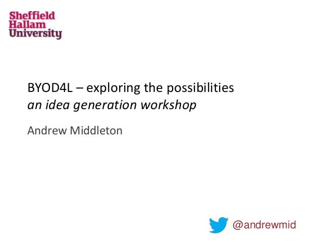 BYOD4L – exploring the possibilities an idea generation workshop Andrew Middleton @andrewmid