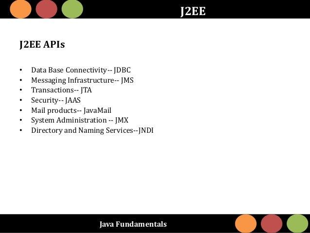 Java Fundamentals J2EE J2EE APIs • Data Base Connectivity-- JDBC • Messaging Infrastructure-- JMS • Transactions-- JTA • S...