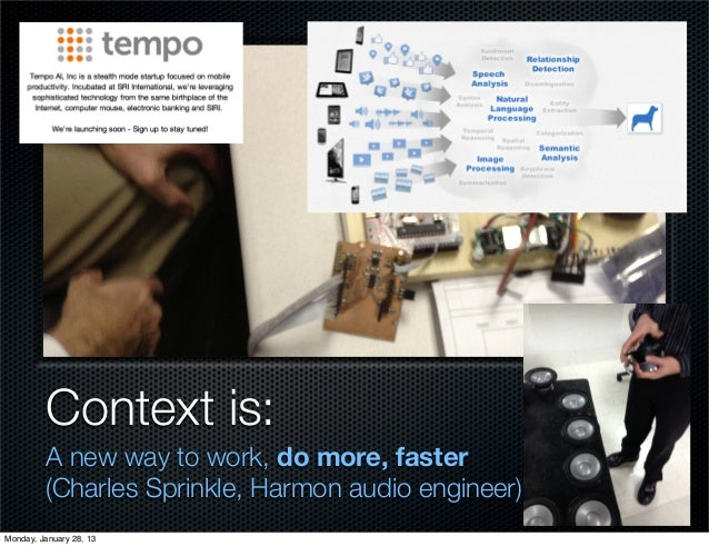 Context is:         A new way to work, do more, faster         (Charles Sprinkle, Harmon audio engineer)Monday, January 28...