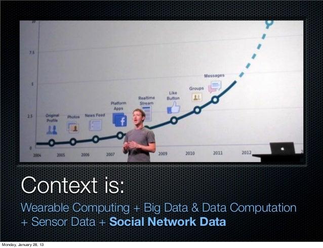Context is:         Wearable Computing + Big Data & Data Computation         + Sensor Data + Social Network DataMonday, Ja...