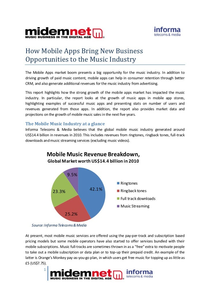 How Mobile Apps Bring New BusinessOpportunities to the Music IndustryThe Mobile Apps market boom presents a big opportunit...