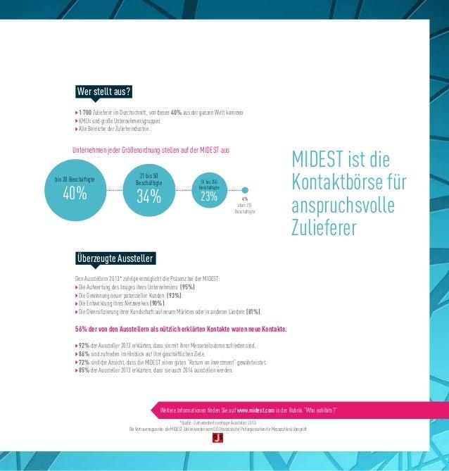 MIDEST ist die Kontaktbörse für anspruchsvolle Zulieferer 1 700 Zulieferer im Durchschnitt, von denen 40% aus der ganzen W...