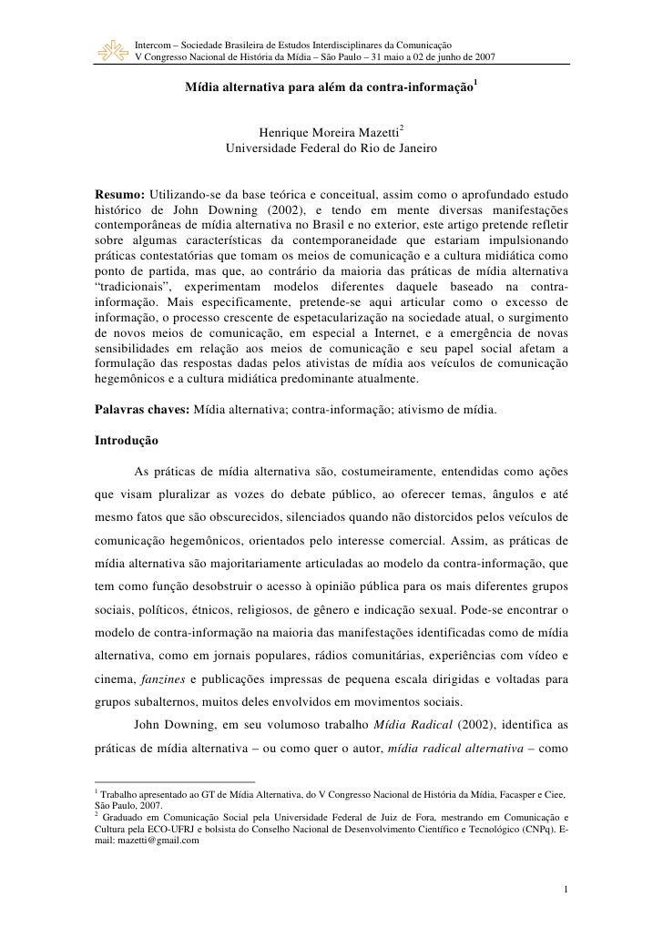 Intercom – Sociedade Brasileira de Estudos Interdisciplinares da Comunicação          V Congresso Nacional de História da ...