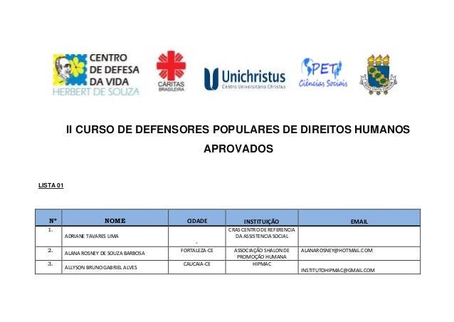 II CURSO DE DEFENSORES POPULARES DE DIREITOS HUMANOS APROVADOS LISTA 01 Nº NOME CIDADE INSTITUIÇÃO EMAIL 1. ADRIANE TAVARE...