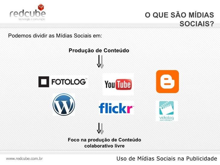 O QUE SÃO MÍDIAS SOCIAIS? Uso de Mídias Sociais na Publicidade Podemos dividir as Mídias Sociais em: Produção de Conteúdo ...