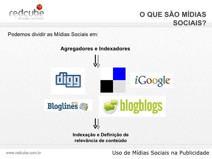O QUE SÃO MÍDIAS SOCIAIS? Uso de Mídias Sociais na Publicidade Podemos dividir as Mídias Sociais em: Agregadores e Indexad...