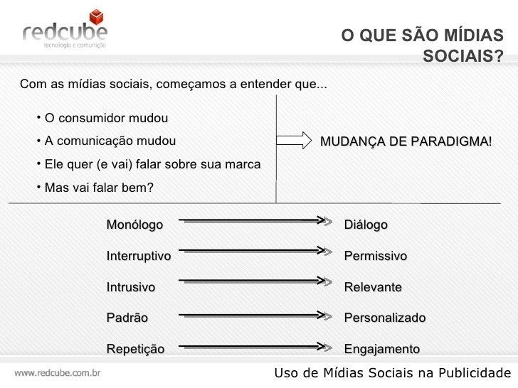 O QUE SÃO MÍDIAS SOCIAIS? Uso de Mídias Sociais na Publicidade Com as mídias sociais, começamos a entender que... <ul><li>...