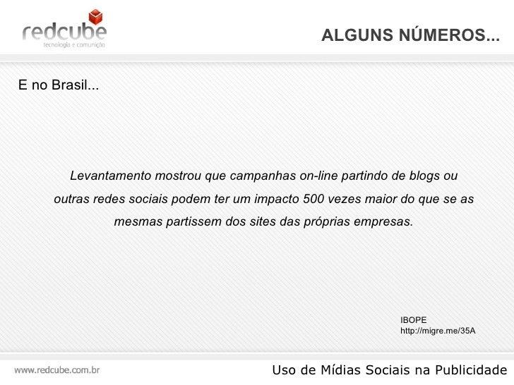 ALGUNS NÚMEROS... Uso de Mídias Sociais na Publicidade E no Brasil... Levantamento mostrou que campanhas on-line partindo ...