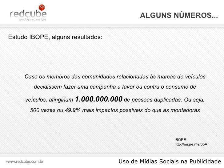 ALGUNS NÚMEROS... Uso de Mídias Sociais na Publicidade Estudo IBOPE, alguns resultados: IBOPE http://migre.me/35A Caso os ...