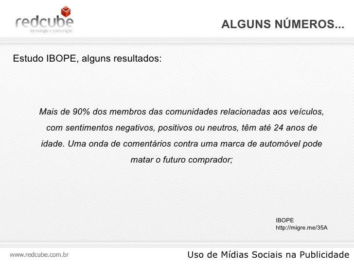 ALGUNS NÚMEROS... Uso de Mídias Sociais na Publicidade Estudo IBOPE, alguns resultados: IBOPE http://migre.me/35A Mais de ...