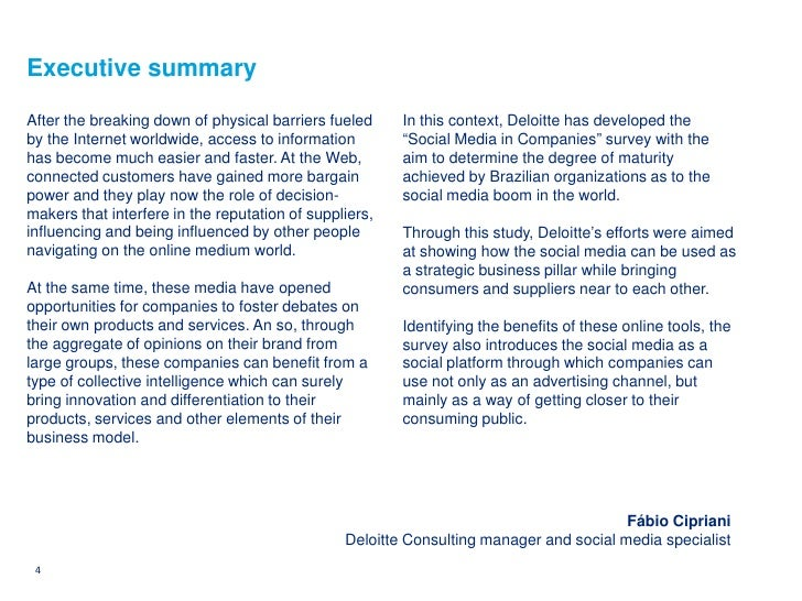 Executive summary  After the breaking down of physical barriers fueled     In this context, Deloitte has developed the by ...