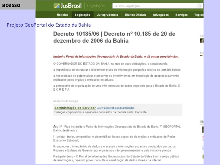 acesso  Projeto GeoPortal do Estado da Bahia