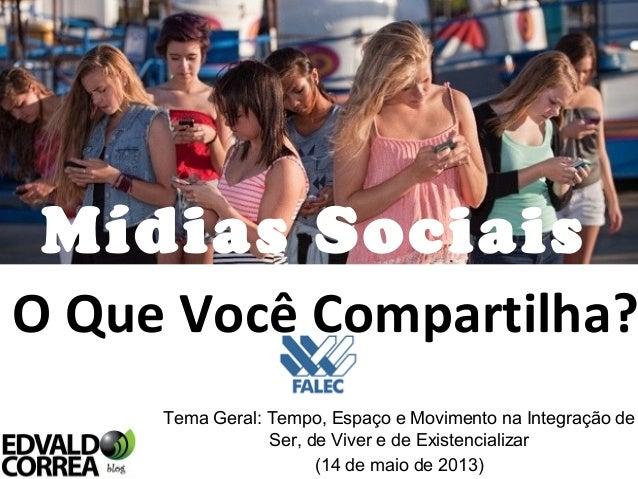 Mídias SociaisTema Geral: Tempo, Espaço e Movimento na Integração deSer, de Viver e de Existencializar(14 de maio de 2013)...