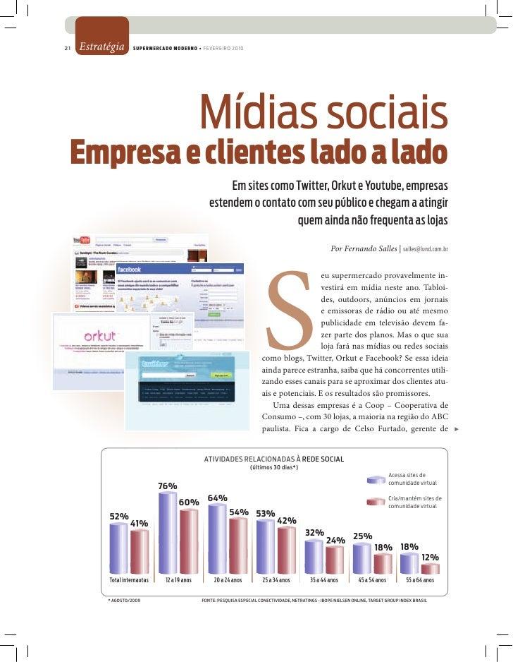 21   Estratégia      SUPERMERCADO MODERNO • FEVEREIRO 2010                                                    Mídias socia...