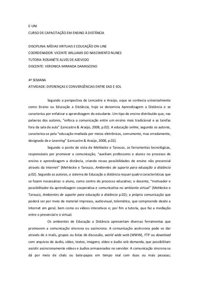 E-UNICURSO DE CAPACITAÇÃO EM ENSINO À DISTÂNCIADISCIPLINA: MÍDIAS VIRTUAIS E EDUCAÇÃO ON-LINECOORDENADOR: VICENTE WILLIAMS...
