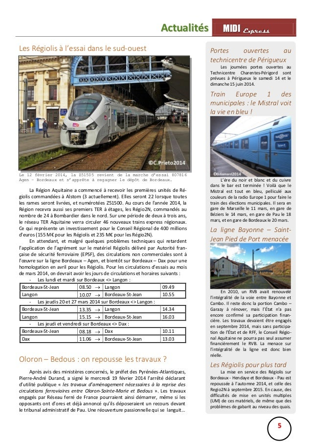 Actualités Les Régiolis à l'essai dans le sud-ouest  MIIDII Express M D Express Portes ouvertes au technicentre de Périgue...