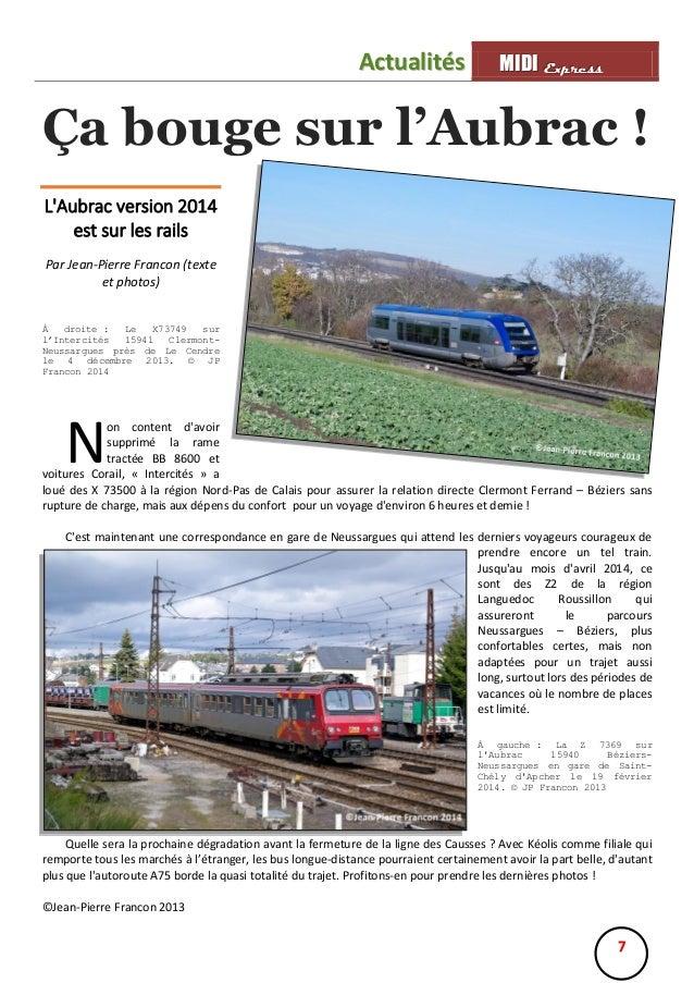 Actualités  MIIDII Express M D Express  Ça bouge sur l'Aubrac ! L'Aubrac version 2014 est sur les rails Par Jean-Pierre Fr...