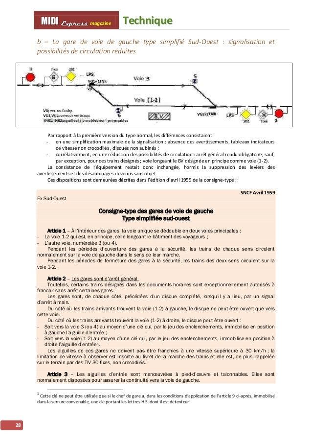 TTeecchhnniiqquuee MMMIIIDDDIII EEExxxppprrreeessssss magazine 29 Du côté où les trains arrivants trouvent la voie (1-2) à...