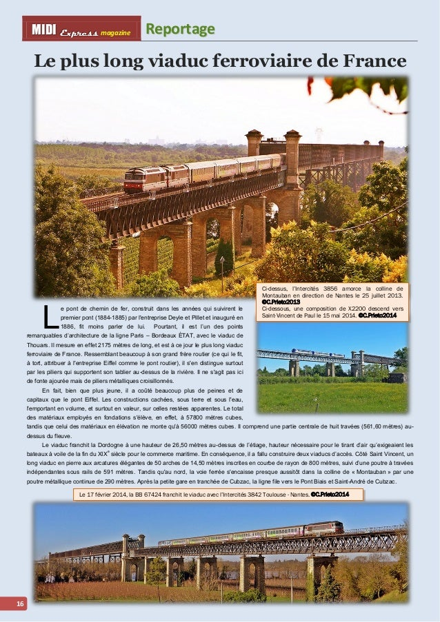 MMI IIDDI II EEx xxpppr rre ees sss ss magazine Reporttage  16  Le plus long viaduc ferroviaire de France  L  e pont de ch...