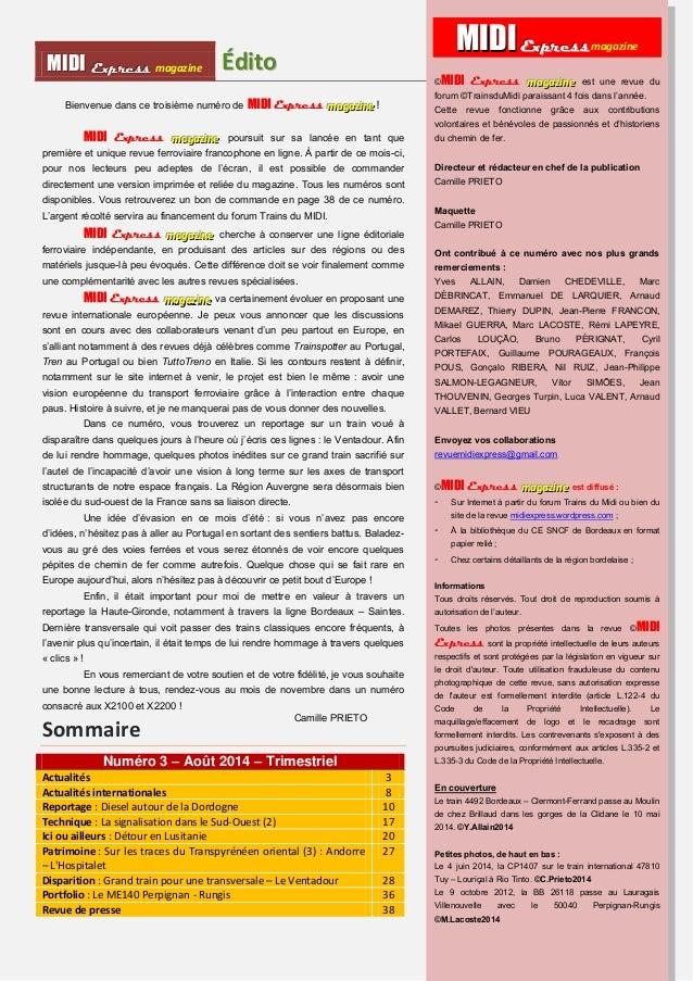 MMI IIDDI II EEx xxp ppr rre ees sss ss magazine Édiitto  Bienvenue dans ce troisième numéro de MIIDII Express maaagggaaaz...