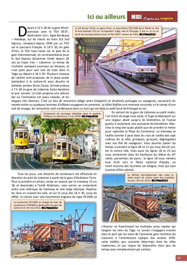 IIcii ou aiilllleurs MMI IIDDI II EEx xxpppr rre ees sss ss magazine  21  D épart à 12 h 28 de la gare Mont-parnasse  Le 2...