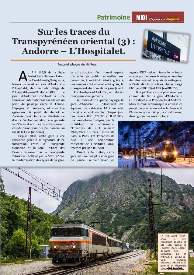 Pattriimoiine MMI IIDDI II EEx xxpppr rre ees sss ss magazine  1  Sur les traces du  Transpyrénéen oriental (3) :  Andorre...