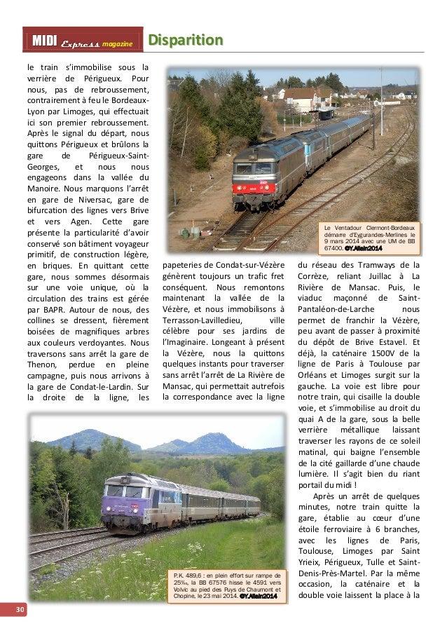 MMI IIDDI II EEx xxpppr rre ees sss ss magazine Diispariittiion  30  le train s'immobilise sous la  verrière de Périgueux....