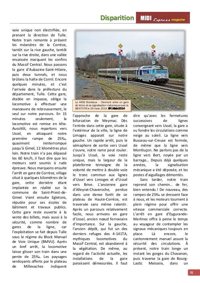 Diispariittiion MMI IIDDI II EEx xxpppr rre ees sss ss magazine  31  voie unique non électrifiée, en  prenant la direction...