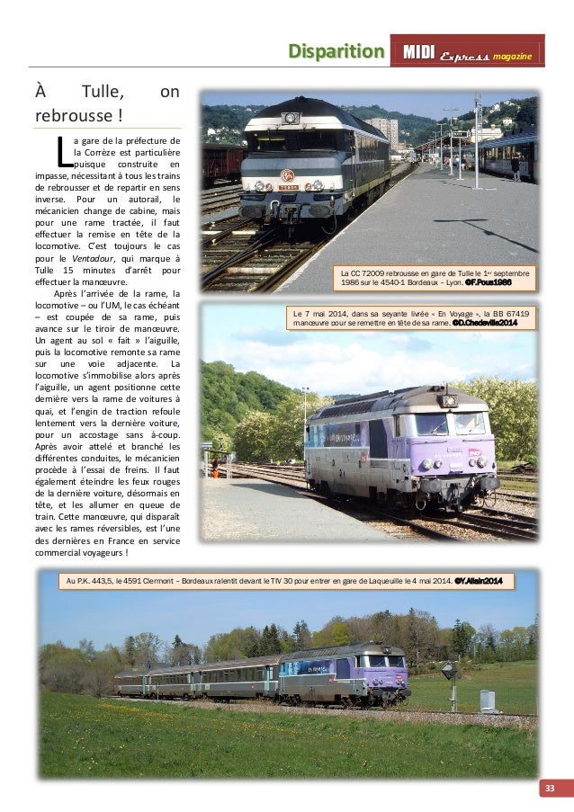 Diispariittiion MMI IIDDI II EEx xxp ppr rre ees sss ss magazine  33  À Tulle, on  rebrousse !  a gare de la préfecture de...