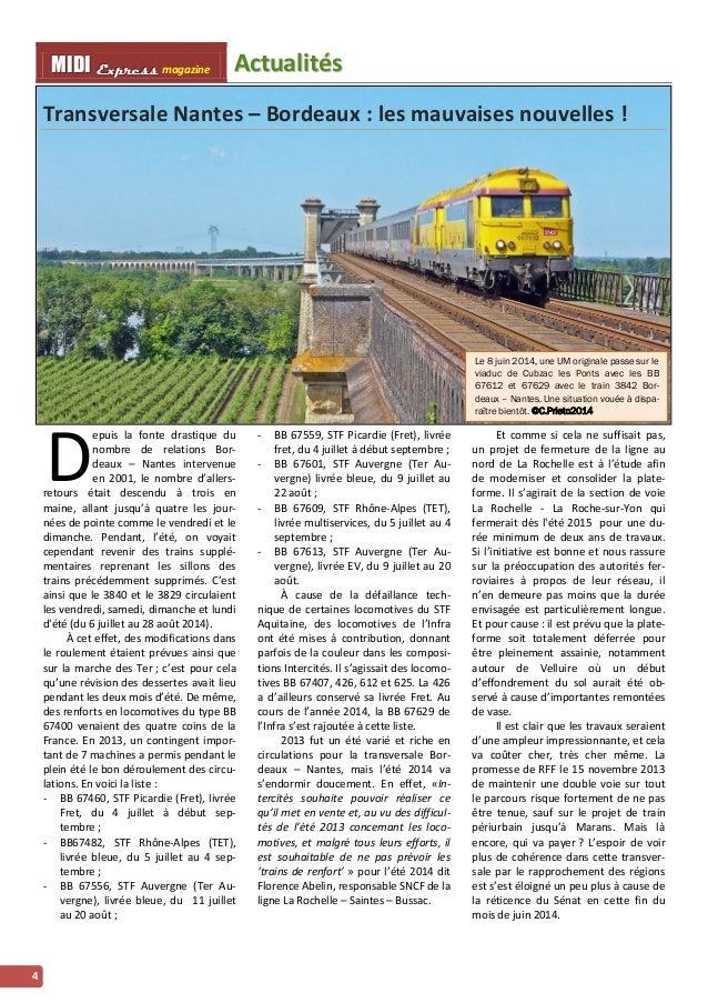 MMI IIDDI II EEx xxpppr rre ees sss ss magazine Acttualliittés  4  Transversale Nantes – Bordeaux : les mauvaises nouvelle...