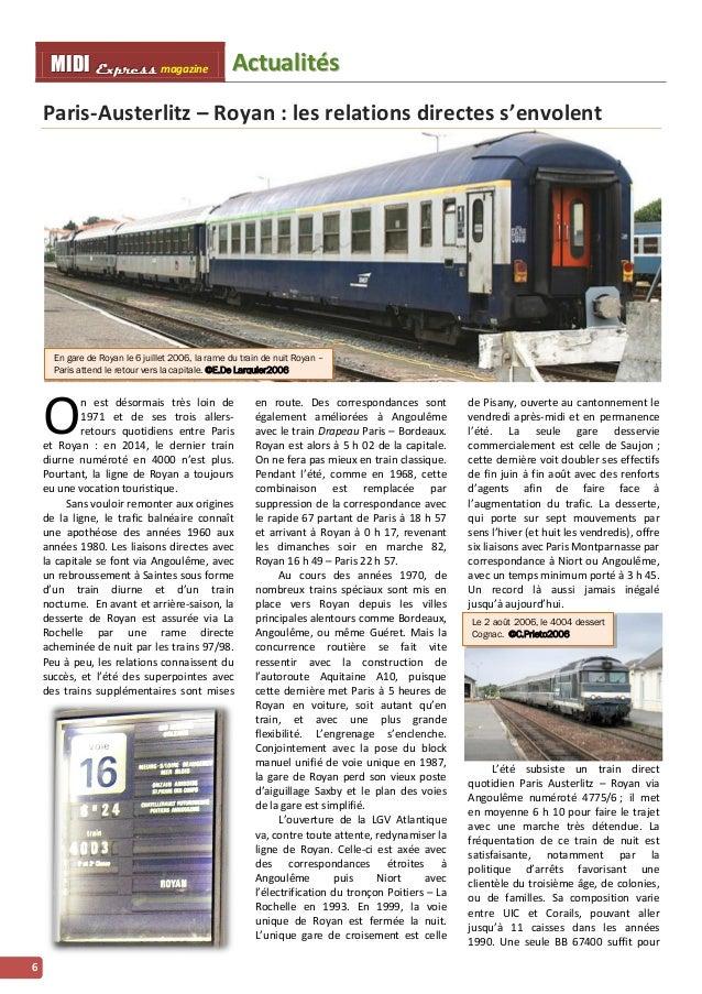 MMI IIDDI II EEx xxpppr rre ees sss ss magazine Acttualliittés  6  Paris-Austerlitz – Royan : les relations directes s'env...