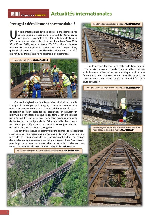 MMI IIDDI II EEx xxpppr rre ees sss ss magazine Acttualliittés iintternattiionalles  8  Portugal : déraillement spectacula...