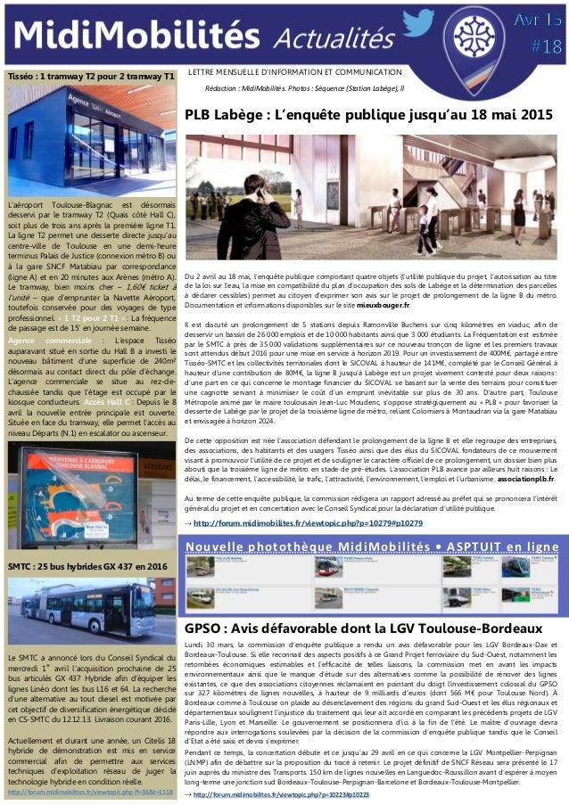 LETTRE MENSUELLE D'INFORMATION ET COMMUNICATION PLB Labège : L'enquête publique jusqu'au 18 mai 2015 Du 2 avril au 18 mai,...