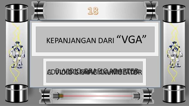 """KEPANJANGAN DARI """"VGA"""" D. VIDIO GRAFIC AKTIFATORC. VIDIO GRAFIC AKUMULATORB. VIDIO GRAFIC ADAPTERA. VIDIO GRAFIC AKUMULATOR"""