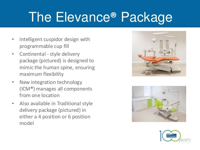 The Elevance® Package • Intelligent cuspidor design with programmable cup fill • Continental - style delivery package (pic...