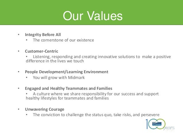 Our Values • Integrity Before All • The cornerstone of our existence • Customer-Centric • Listening, responding and creati...