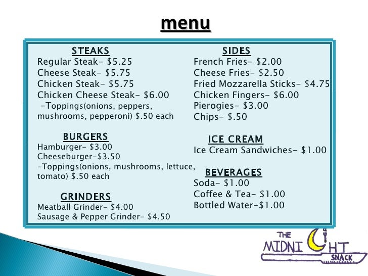 STEAKS Regular Steak- $5.25 Cheese Steak- $5.75 Chicken Steak- $5.75 Chicken Cheese Steak- $6.00 -T oppings(onions, pepper...