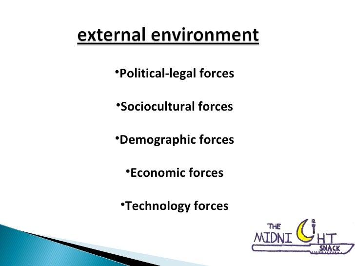 <ul><li>Political-legal forces </li></ul><ul><li>Sociocultural forces </li></ul><ul><li>Demographic forces </li></ul><ul><...