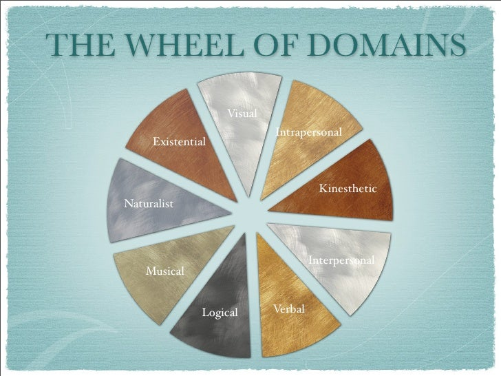 THE WHEEL OF DOMAINS                       Visual                                Intrapersonal         Existential        ...