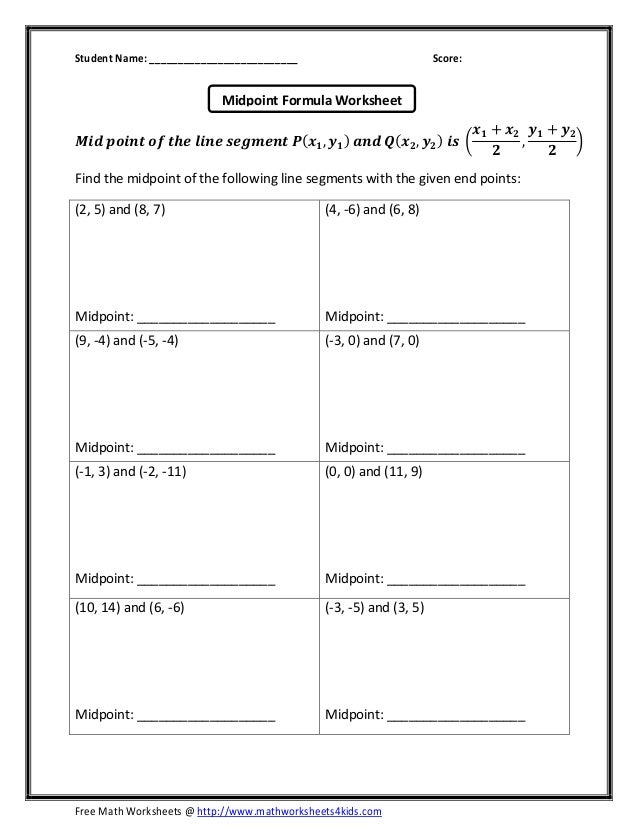 Midpoint formula – Free Math Worksheets 4 Kids