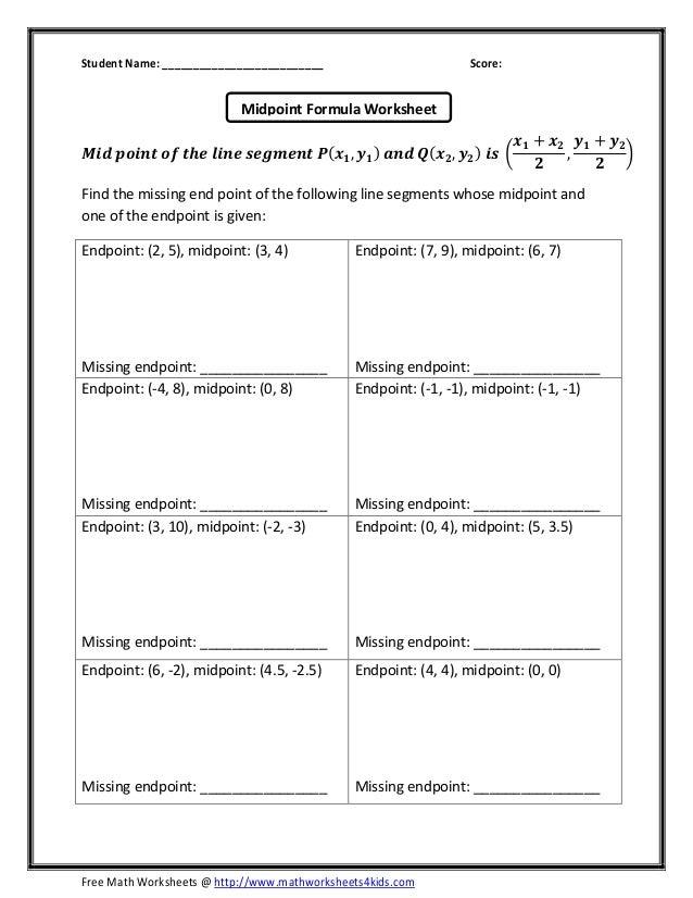 Printable Worksheets measuring line segments worksheets : Midpoint-formula-worksheet & MidPoint Line