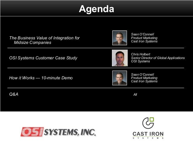 Agenda Q&A All OSI Systems Customer Case Study Chris Holbert Senior Director of Global Applications OSI Systems How it Wor...