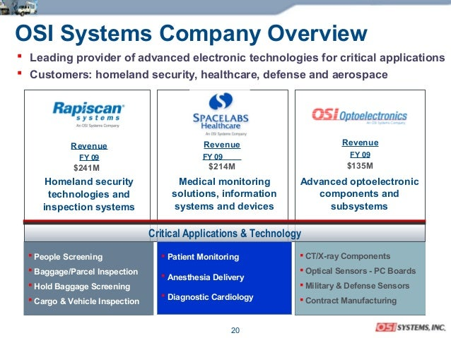20 OSI Systems Company Overview  Leading provider of advanced electronic technologies for critical applications  Custome...