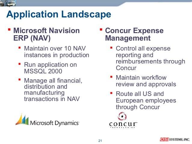 21 Application Landscape  Microsoft Navision ERP (NAV)  Maintain over 10 NAV instances in production  Run application o...
