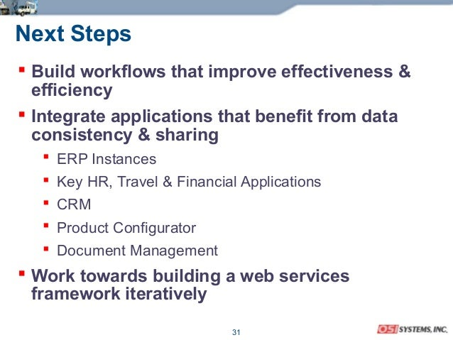 31 Next Steps  Build workflows that improve effectiveness & efficiency  Integrate applications that benefit from data co...