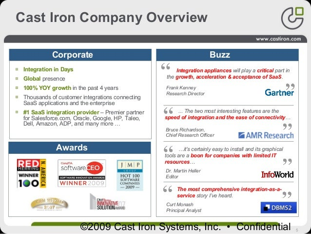 5©2009 Cast Iron Systems, Inc. • Confidential BuzzCorporate Awards …it's certainly easy to install and its graphical tools...