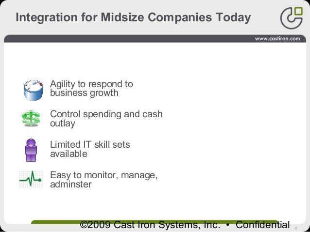 6©2009 Cast Iron Systems, Inc. • Confidential Integration for Midsize Companies Today Midsize Company IT Needs Agility to ...