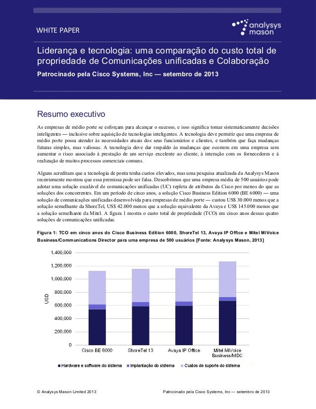 WHITE PAPER  Liderança e tecnologia: uma comparação do custo total de propriedade de Comunicações unificadas e Colaboração...